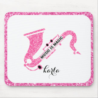 Music Is magic-Pink Glitter Saxophone Mouse Pad