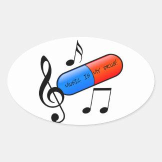 Music is My Drug! Oval Sticker