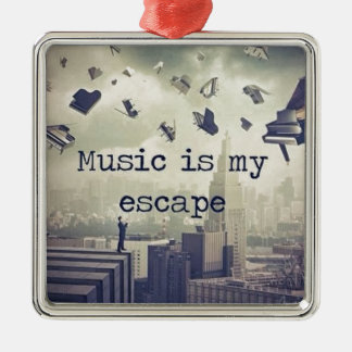 Music is my escape christmas ornament