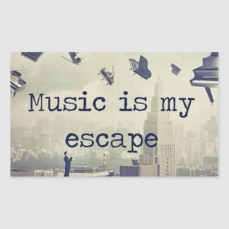 Music is my escape rectangle sticker