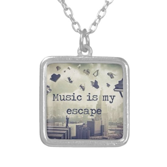 Music is my escape silver plated necklace