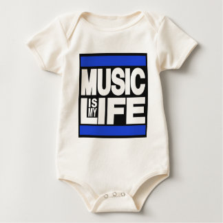 Music is My Life Blue Baby Bodysuit
