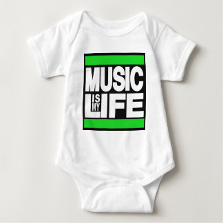 Music is My Life Green Baby Bodysuit