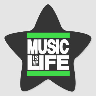 Music is My Life Green Star Sticker