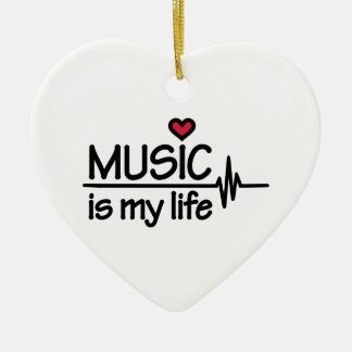 Music is my life heart christmas tree ornaments
