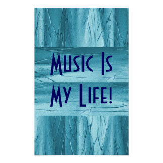 Music Is My Life In Blue Chrome II Poster