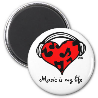 Music is my life-Magnet 2 Inch Round Magnet