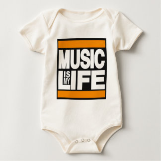 Music is My Life Orange Baby Creeper