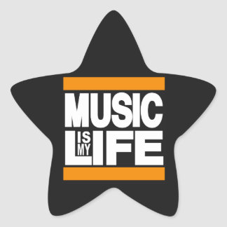 Music is My Life Orange Star Sticker