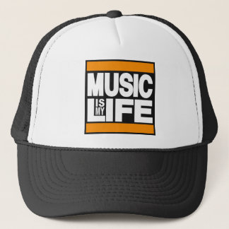 Music is My Life Orange Trucker Hat