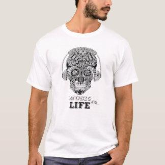 Music Is My Life - Ornate Skull Design T-Shirt