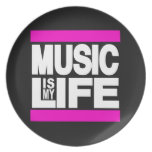 Music is My Life Pink Party Plate