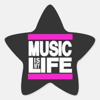 Music is My Life Pink Star Sticker