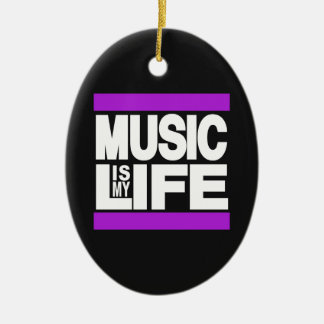 Music is My Life Purple Double-Sided Oval Ceramic Christmas Ornament