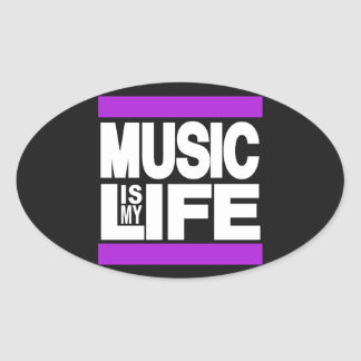 Music is My Life Purple Oval Sticker