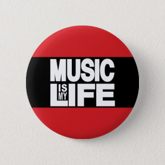Music Is My Life Red Pinback Button