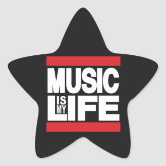 Music is my life Red Star Sticker