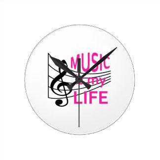MUSIC IS MY LIFE ROUND CLOCK