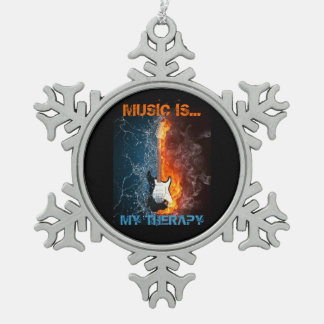 MUSIC IS MY THERAPY SNOWFLAKE PEWTER CHRISTMAS ORNAMENT