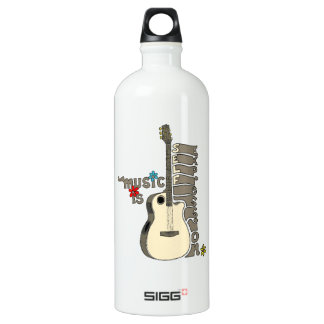Music is Self Expression Guitar Aluminum Water Bottle