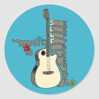 Music is Self Expression Guitar Classic Round Sticker