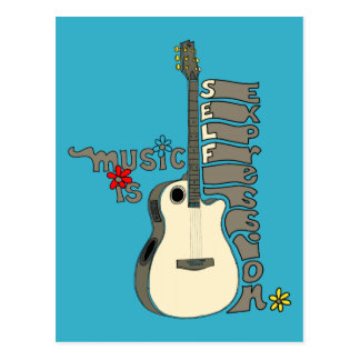 Music is Self Expression Guitar Postcard