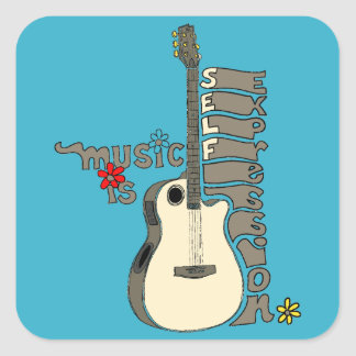 Music is Self Expression Guitar Square Sticker