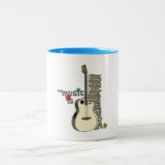 Music is Self Expression Guitar Two-Tone Coffee Mug