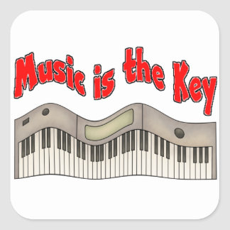 Music is the key square sticker