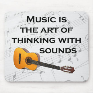 Music is thinking with sound Guitar Mouse Pad