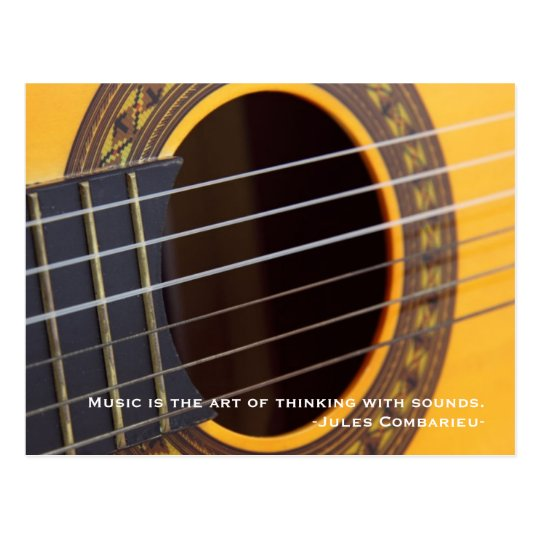 Music is thinking with sound Guitar Postcard