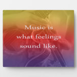 music is what feelings sound like guitar design display plaque