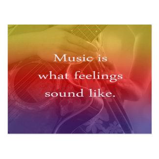 music is what feelings sound like guitar design postcard