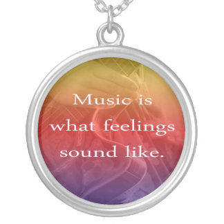 music is what feelings sound like guitar design silver plated necklace