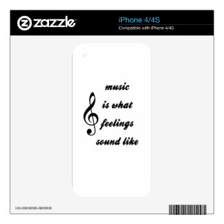 Music Is What Feelings Sound Like Skin For The iPhone 4