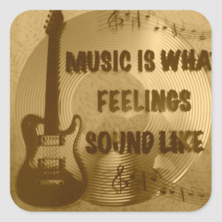 music is what feelings sound like square sticker