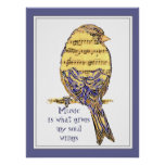 Music  is what gives my soul wings with Bird Poster