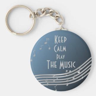 Music Keep Calm Basic Round Button Keychain