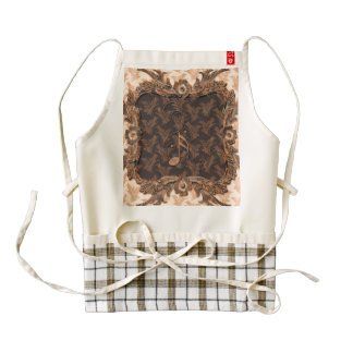 Music, key notes and floral elements zazzle HEART apron
