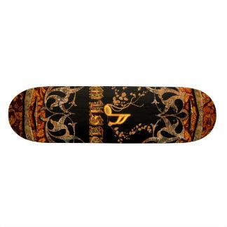 Music, key notes on vintage background skateboard