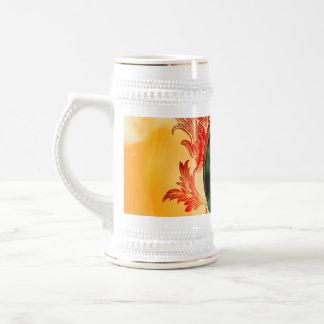 Music, key notes with elegant, decorative damasks mugs