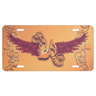 Music, key notes with wings license plate