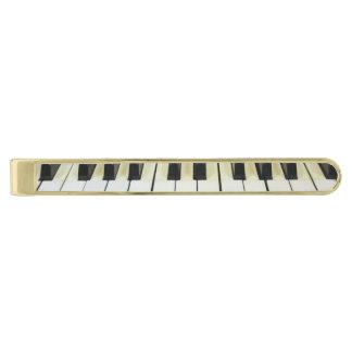 Music keyboard gold finish tie bar