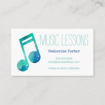 Music Lesson Appointment Card Piano Voice