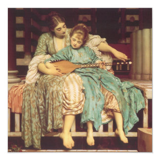 "Music Lesson by Leighton, Vintage Victorian Art 5.25"" Square Invitation Card"