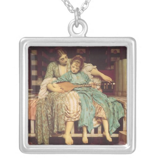 Music Lesson by Leighton, Vintage Victorian Art Necklace