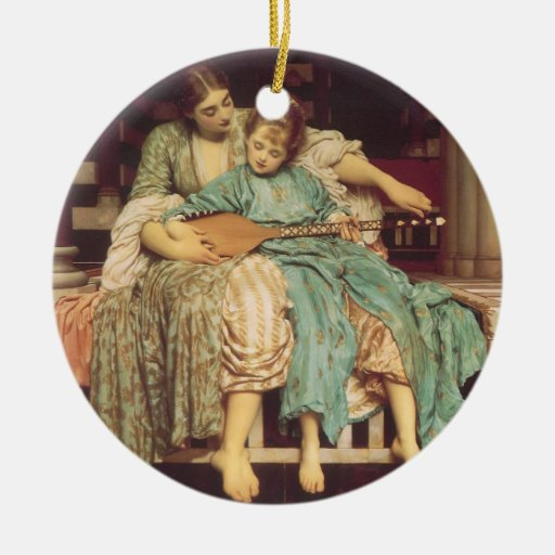 Music Lesson by Leighton, Vintage Victorian Art Christmas Ornaments