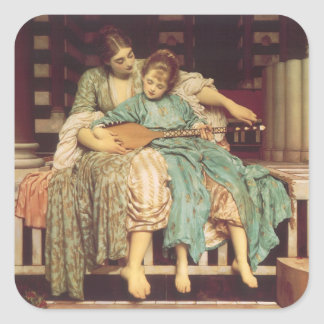 Music Lesson by Leighton, Vintage Victorian Art Square Sticker