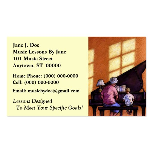 Music Lessons Teacher Instructor's Business Cards