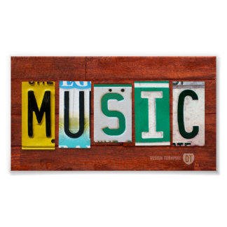 Music License Plate Art Poster Print